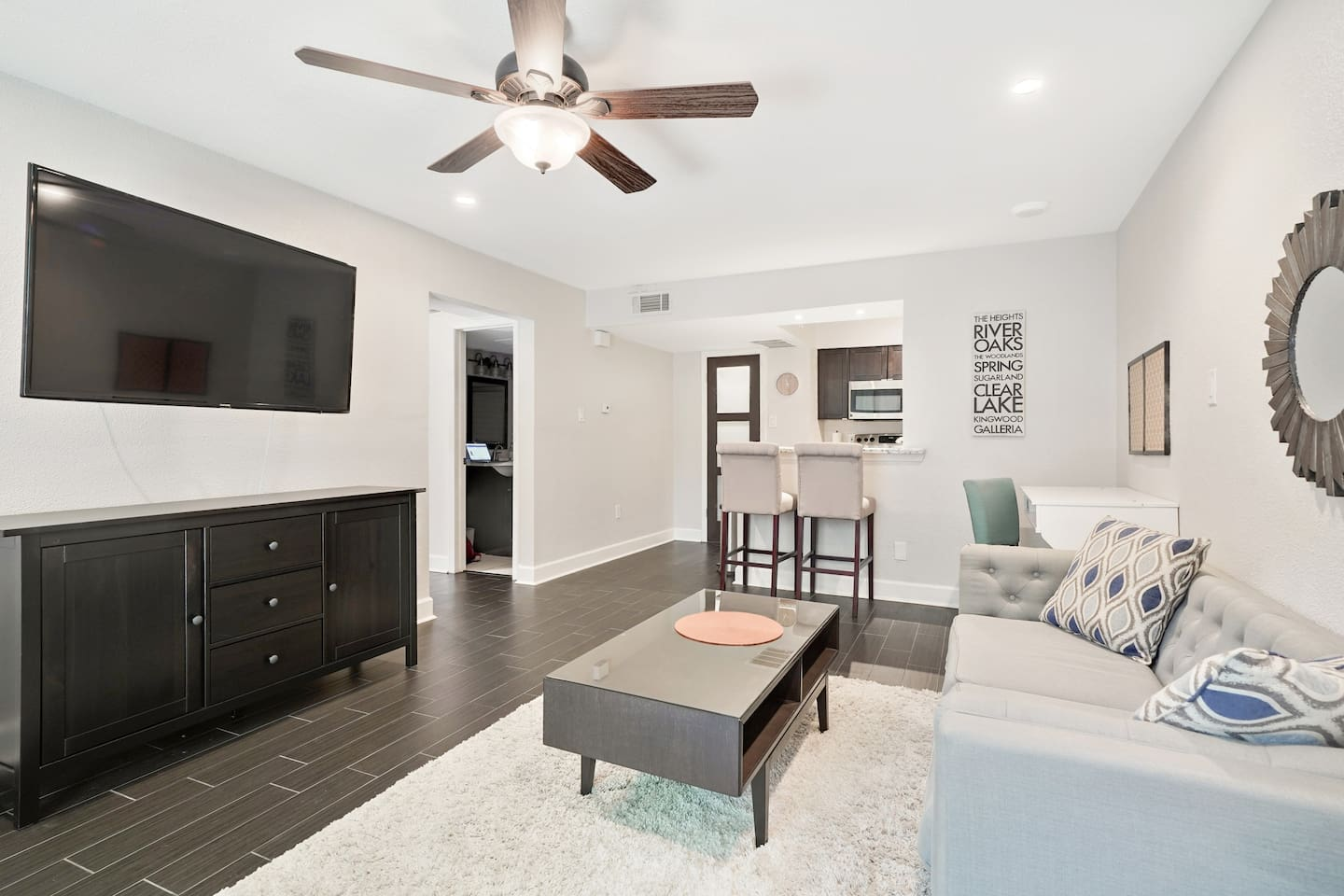Relax and unwind in this modern and comfy room
