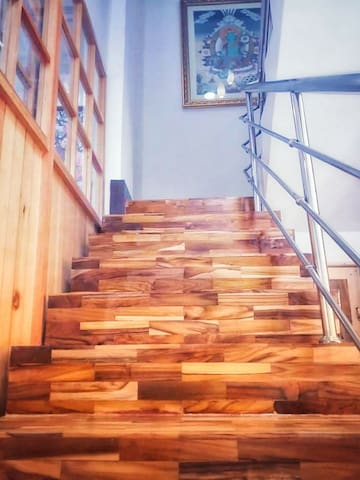 Stairway to master bedroom and balcony