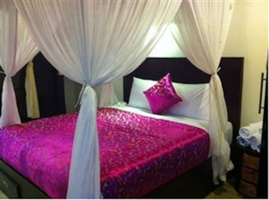 Queen Bed with Mosquito Net
