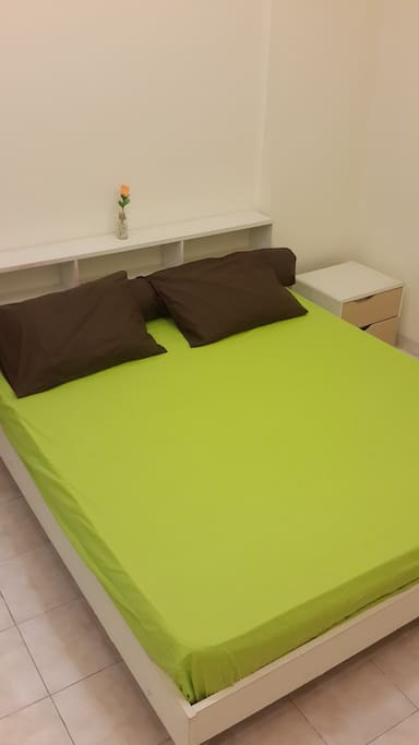 clean bed sheet and pillow {king size bed}