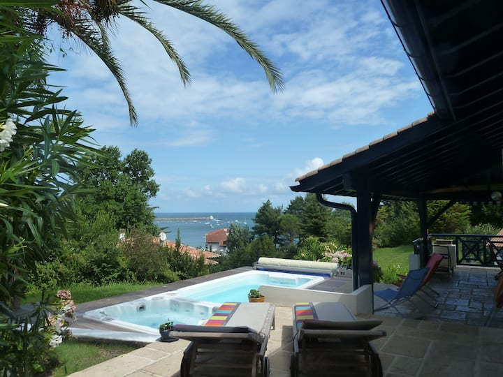 Sea view villa, 150m beach, pool and jacuzzi.