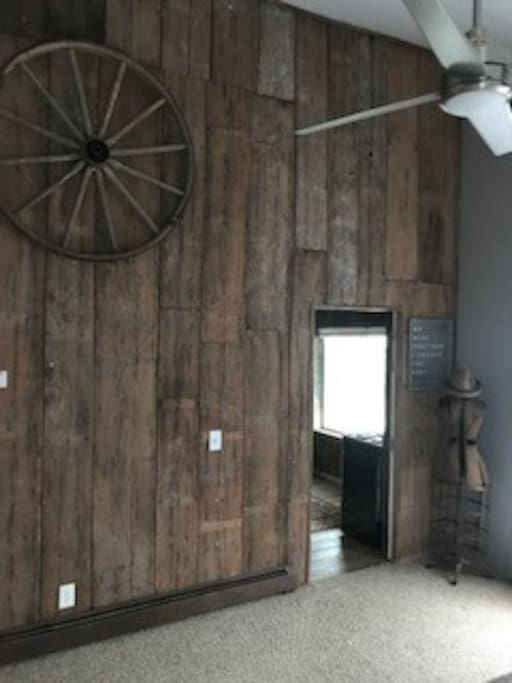 Bedroom Wall built from a single black walnut tree and cut by a water sawmill from the 1800's.