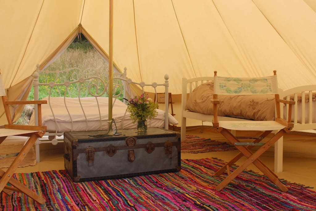 A room with two views. The tent opens at the front and back.