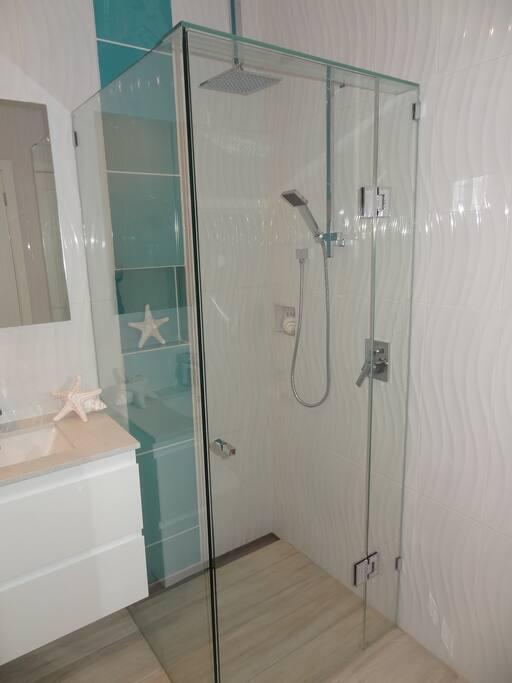 Waterfall shower in the main bathroom