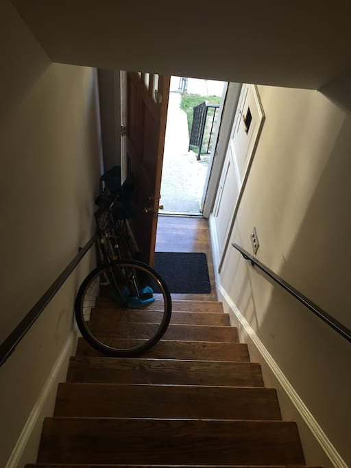 Private stairwell to apartment