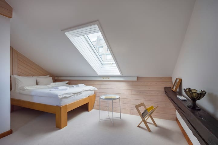 The third bedroom with lovely skylight and beautiful views of the city.