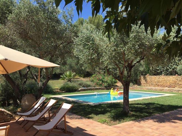 Le coin piscine et au fond le solarium en pierres sèches de Provence
