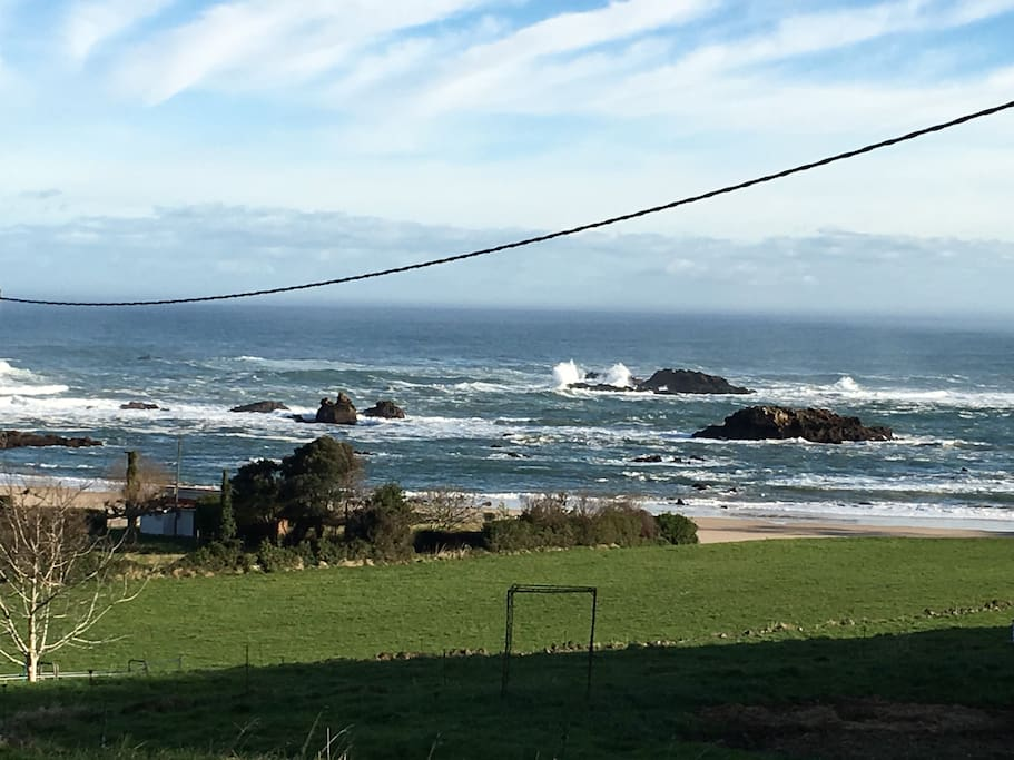 View of Sea Rocks from the fields from the other side of the Village