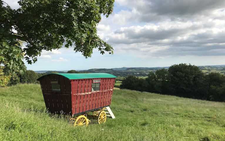 REMOTE GYPSY CARAVAN with view of Glastonbury Tor