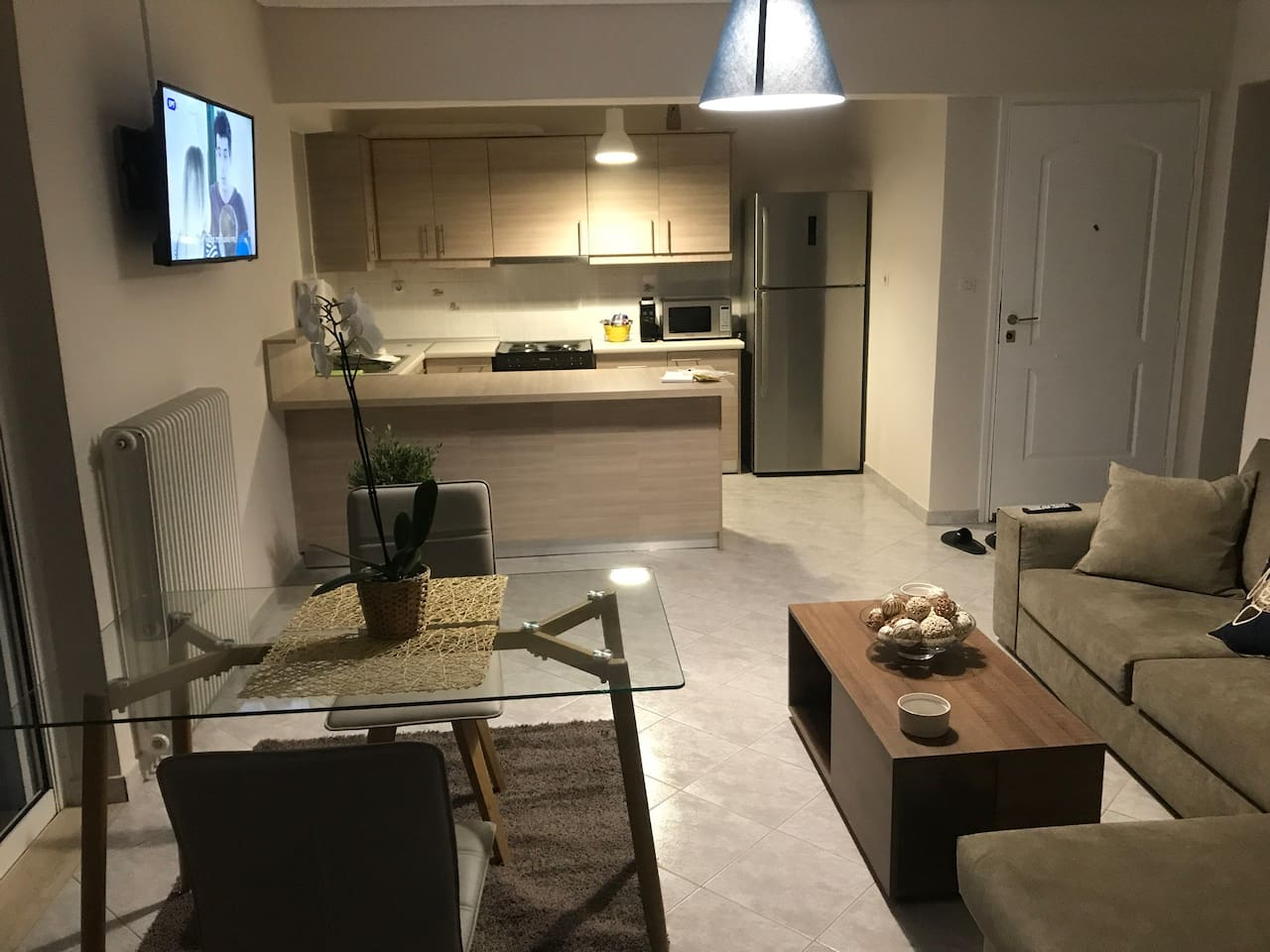 Living Room, Dining Table & Kitchen