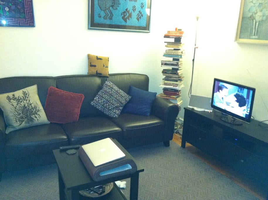 The living room is quite comfortable.  It's completely yours during the day and early evening.