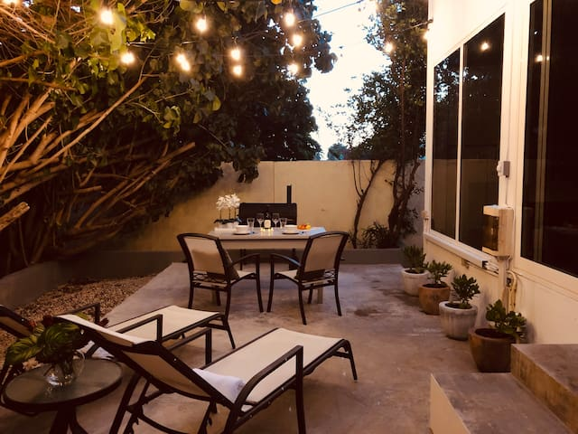 Patio outside where you can BBQ and relax