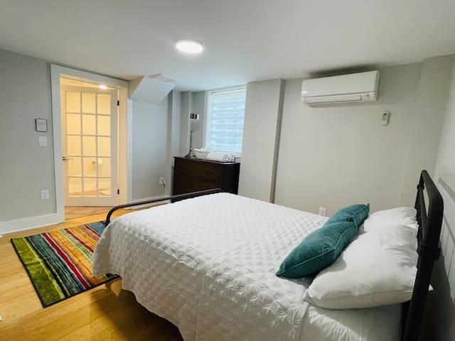Queen sized bed; in room access to generous bathroom