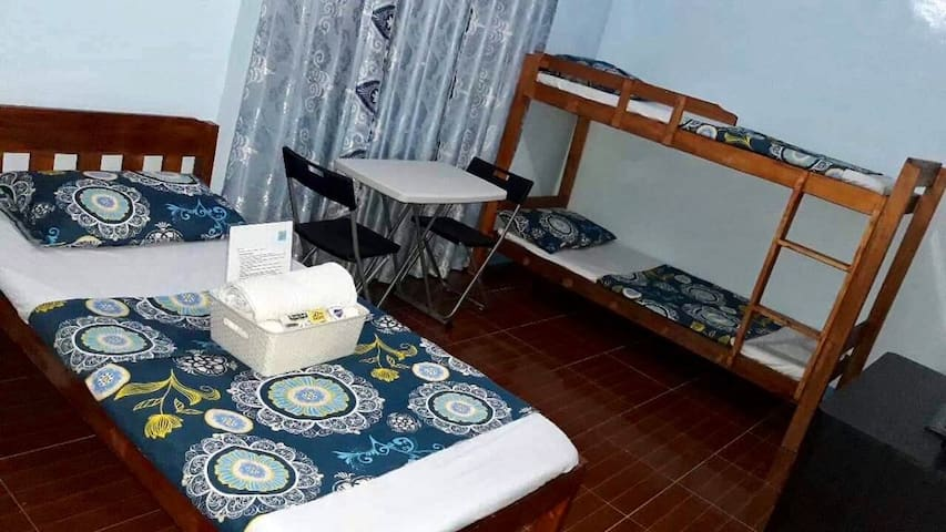 Private room with bunk bed & single bed