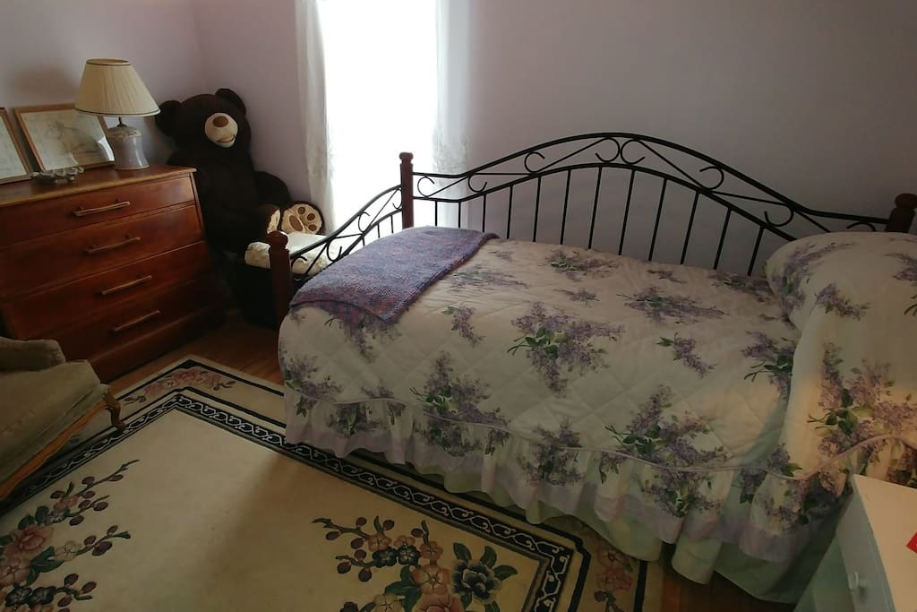 This is our purple room. Twin bed but room for infant or toddler sleeper.