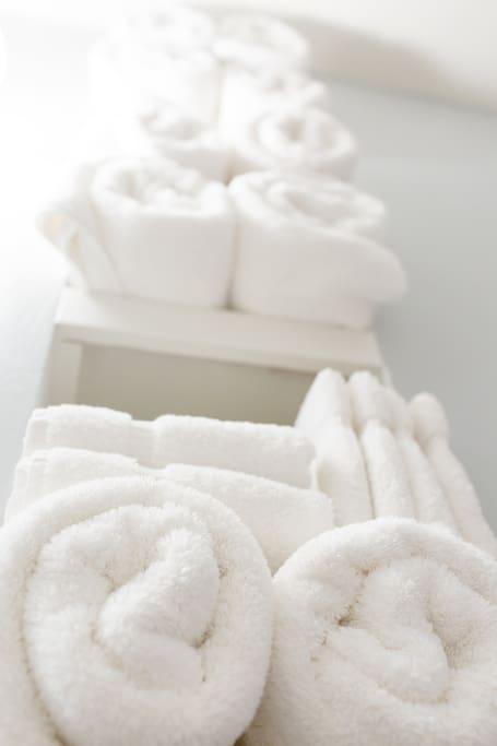 Plush white towels