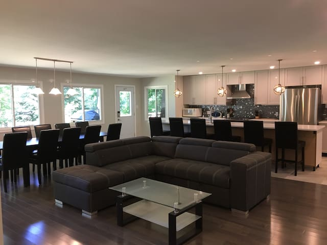 Spacious open concept kitchen and living room.