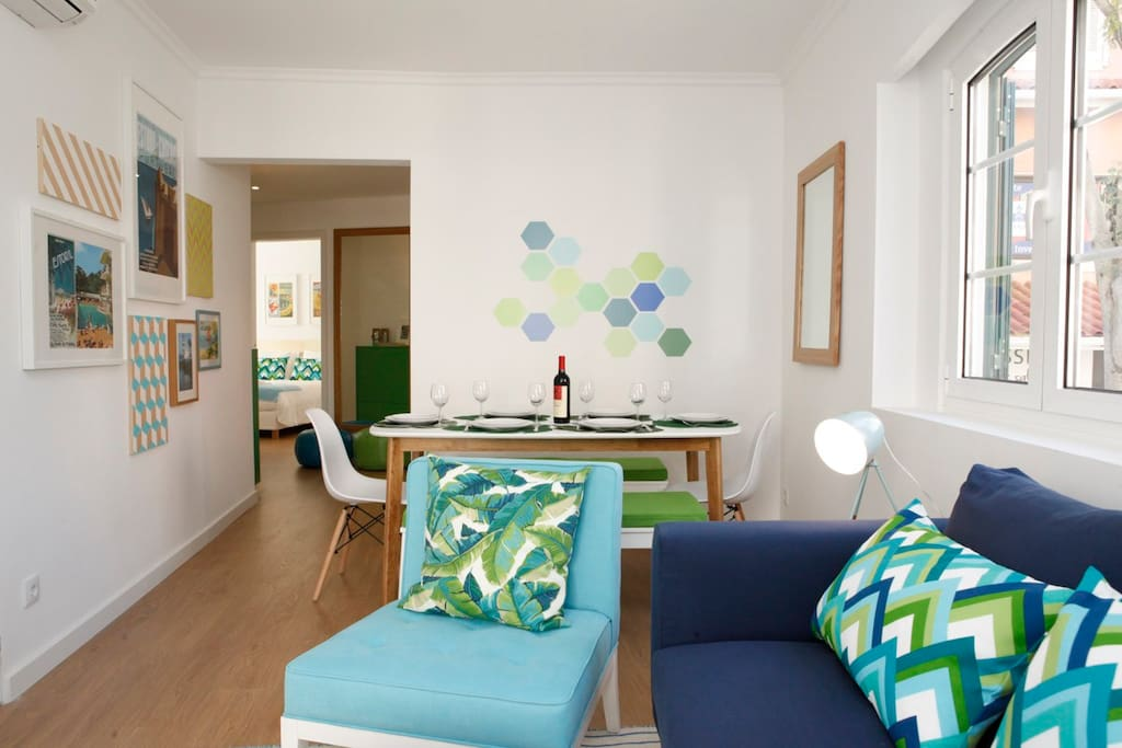 Living room with bright colors