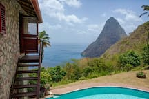 The Petit Piton from the private veranda off the master bedroom.