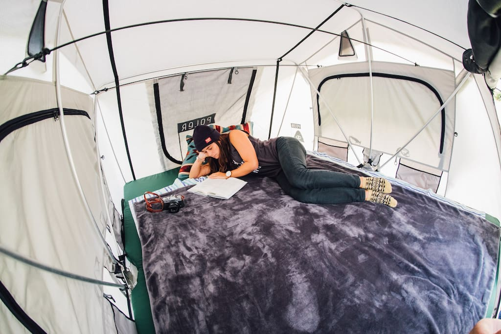 Spacious roof tent with room for two.