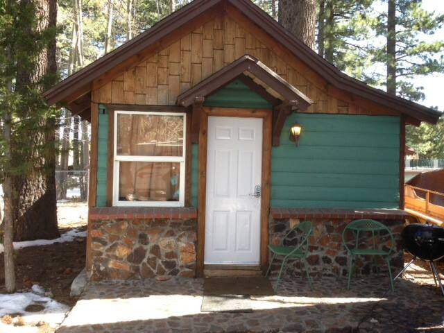 This is the cabin in this add. Great Location, Great Price, small simple cabin, For the Budget minded, very simple no frills cabin { it is your own free standing cabin among 7 other cabins on this Big Bear Village lot, Demanded village lake location.