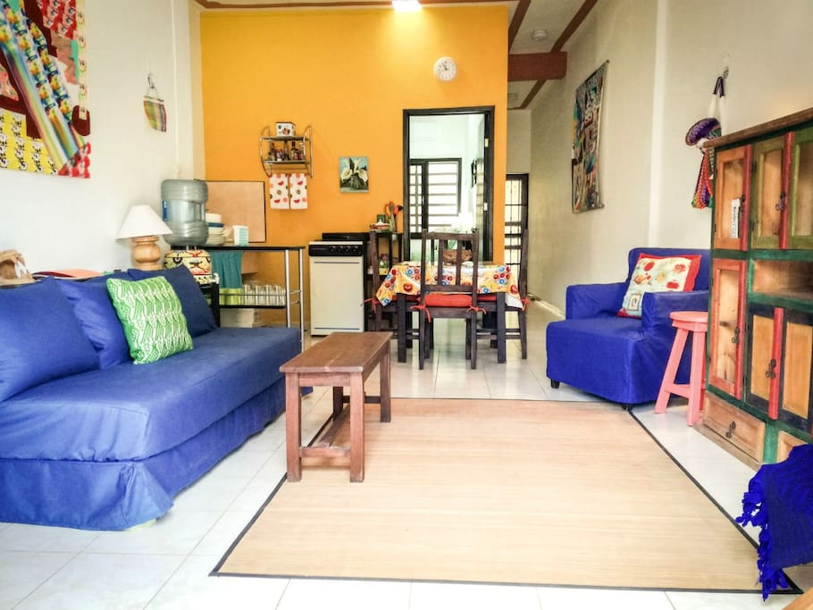 The Casita features a large and comfortable living/dining/kitchen area with a ceiling fan and great natural light. Sofa doubles as twin bed when needed.