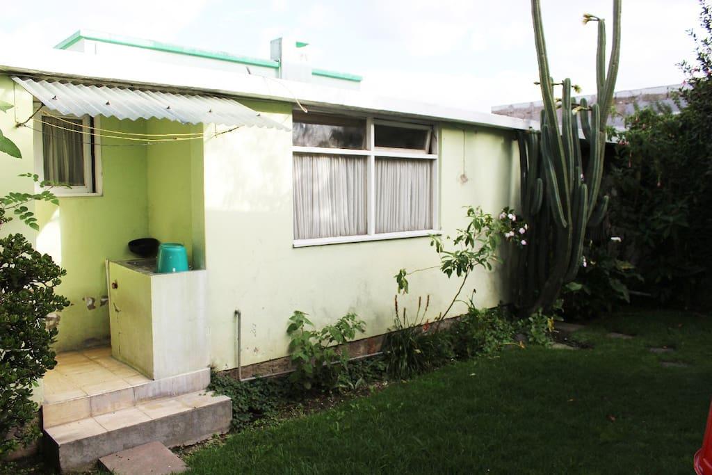 Jardín con sitio para lavar ropa.
