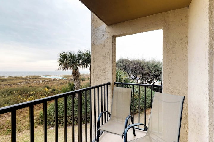 A peaceful oceanfront villa with pool, hot tub, and a fitness center