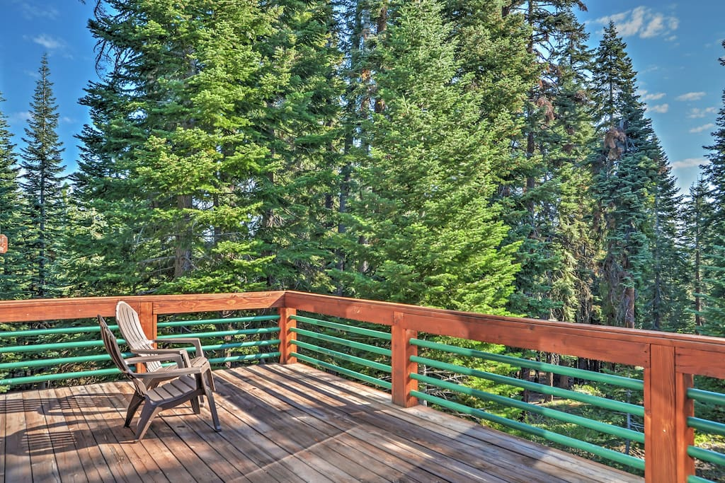 Enjoy scenic views from the large private deck.