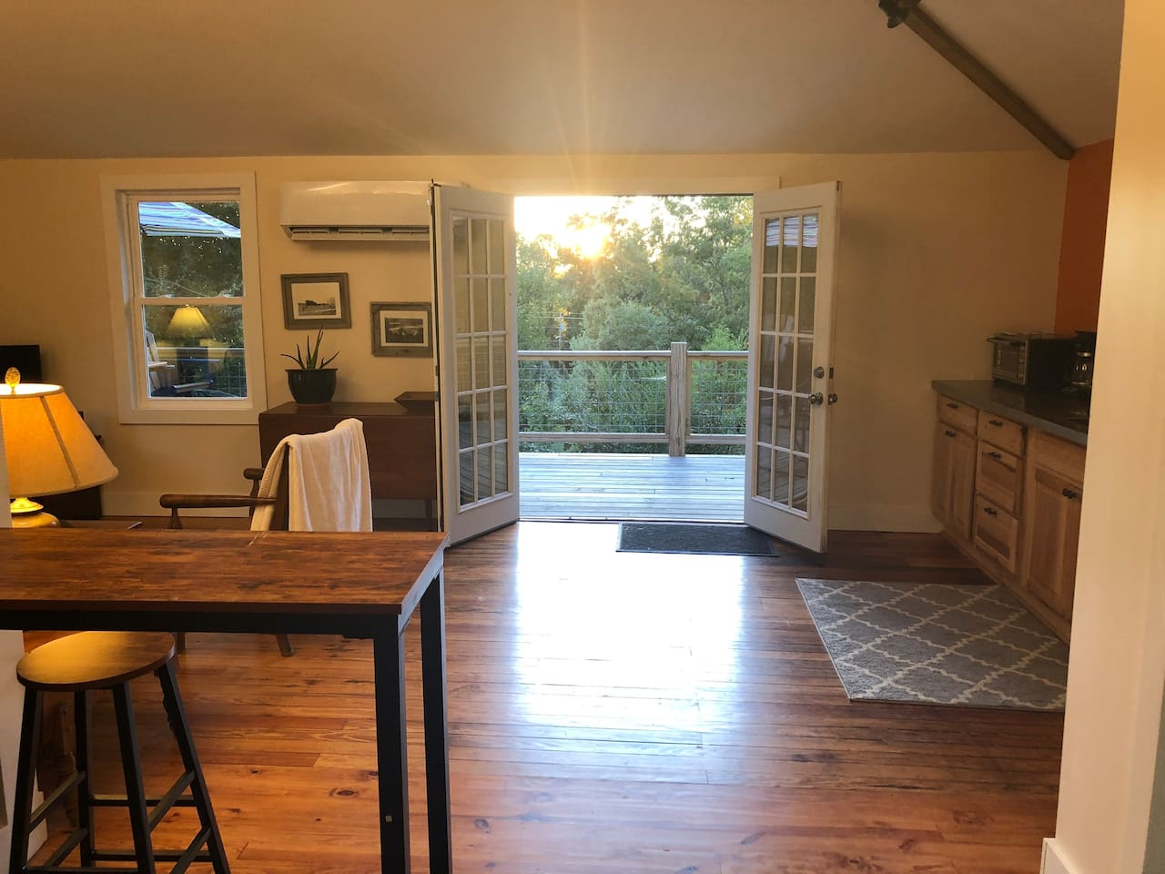 Double french doors can be opened when the weather is nice