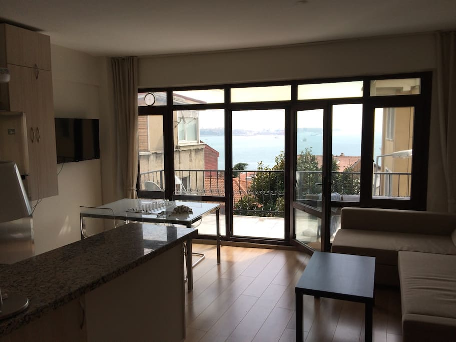 Very clean and bright living room, well furnished. Sofa-bed convertible into bedroom for 2 people. Table for 4 people. Direct access to large balcony