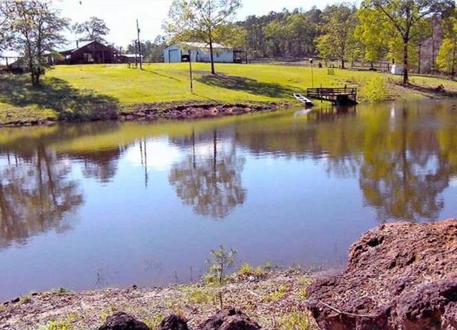 This land is blessed with an acre pond abundant with Bass, Catfish, Perch, Brim and more.  Just steps from the cabin door.