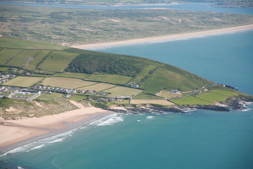Aerial view of Heatherdown with Croyde beach at the end of our driveway and Saunton Sands in the background.