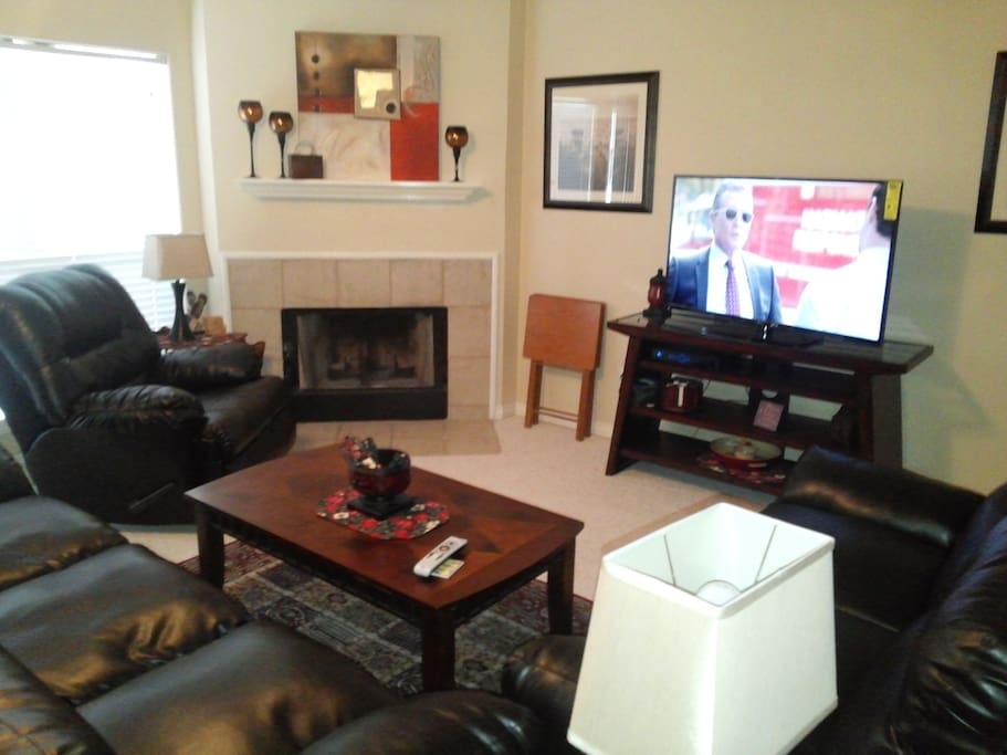 Comfortable Leather Couch, LoveSeat and recliner.