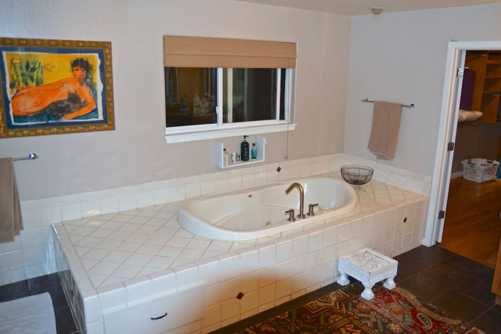 Private attached Master bathroom with large jacuzzi tub and walk in shower