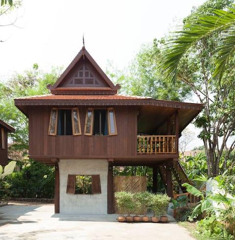 Peaceful Teak Wood Pavilion in City Area