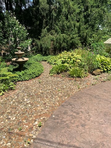 The garden adds greenery and is great for walks.