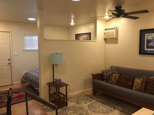 Living space with fold out futon