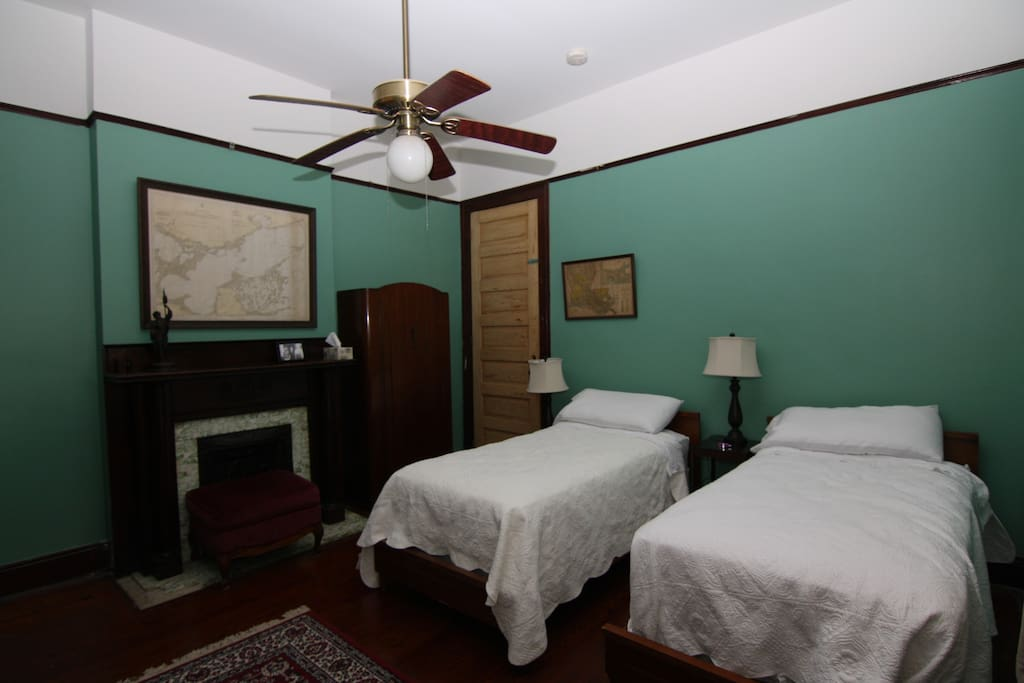 room with the king size split into singles