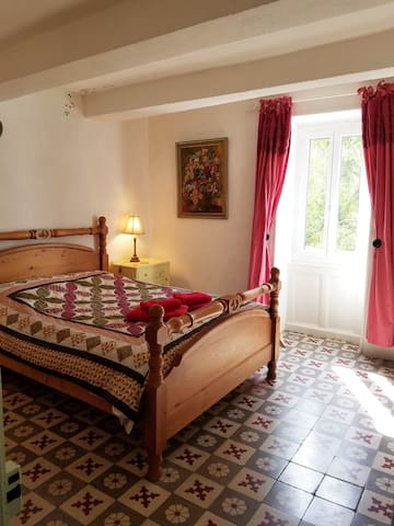 double room with traditional tile floor
