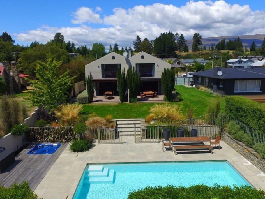 Deck, lawn pool & spa area