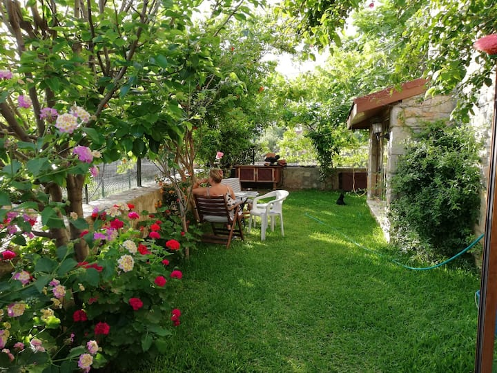 Datça merkezde denize 100m mesafede Bahçeli villa