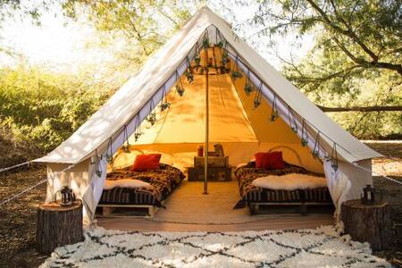 Bell tent nearby waterfalls Minho Portugal