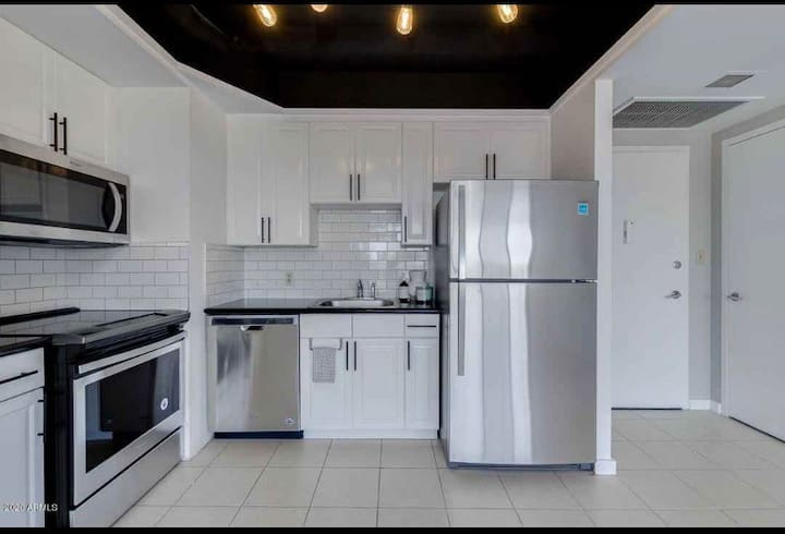 Central 2 Br condo, steps to light rail /downtown