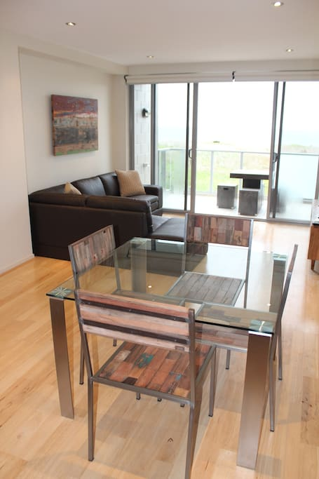 Open Plan living lounge & Dining with lovely views of Bass Strait