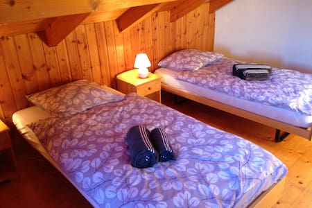 Private room with twin beds - Nendaz - Huis