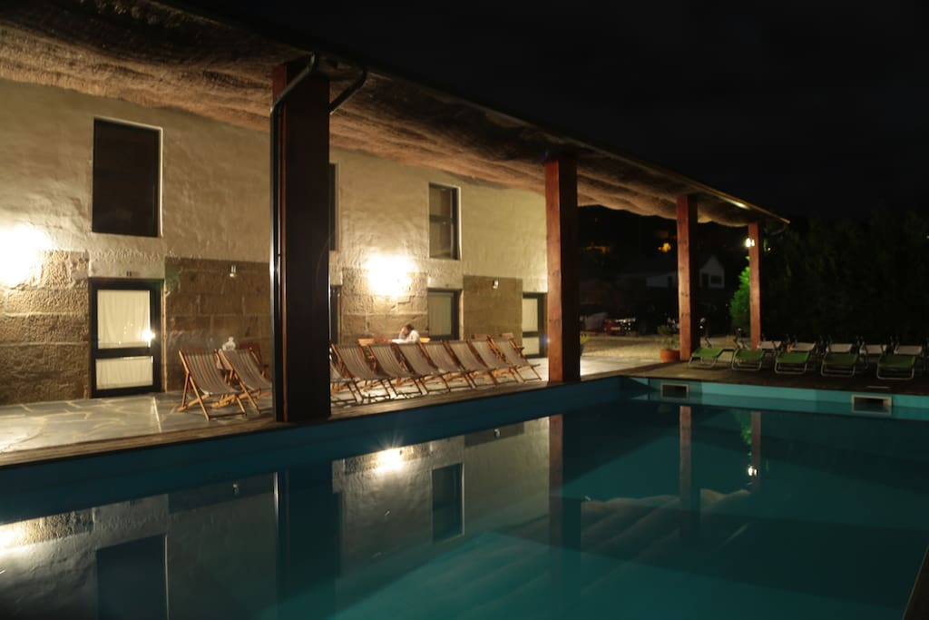 Swiming pool area, at night