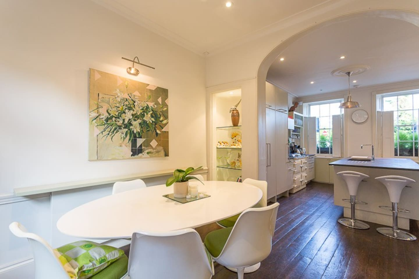 Open plan kitchen and dining.  Dining table seating 8.