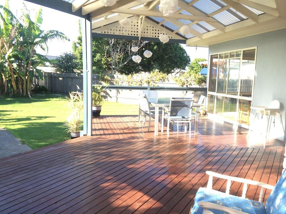 Back deck looking over backyard