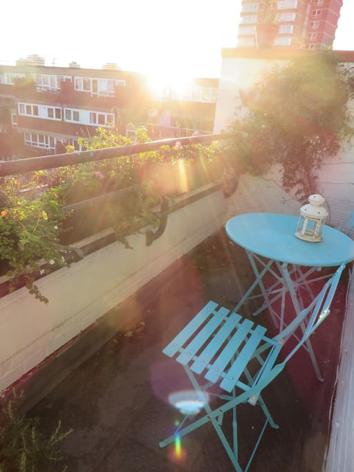 Terrace overlooking communal gardens. A great spot for a morning coffee or sundowner!